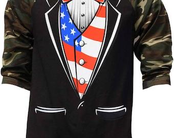 60ff5f98 Men's Americana Tuxedo Baseball T-Shirt Camo/Black All size S-3XL