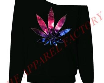 92bf8df2f4fe87 Galaxy Weed Sexy Black Off Shoulder Slouchy Sweatshirt
