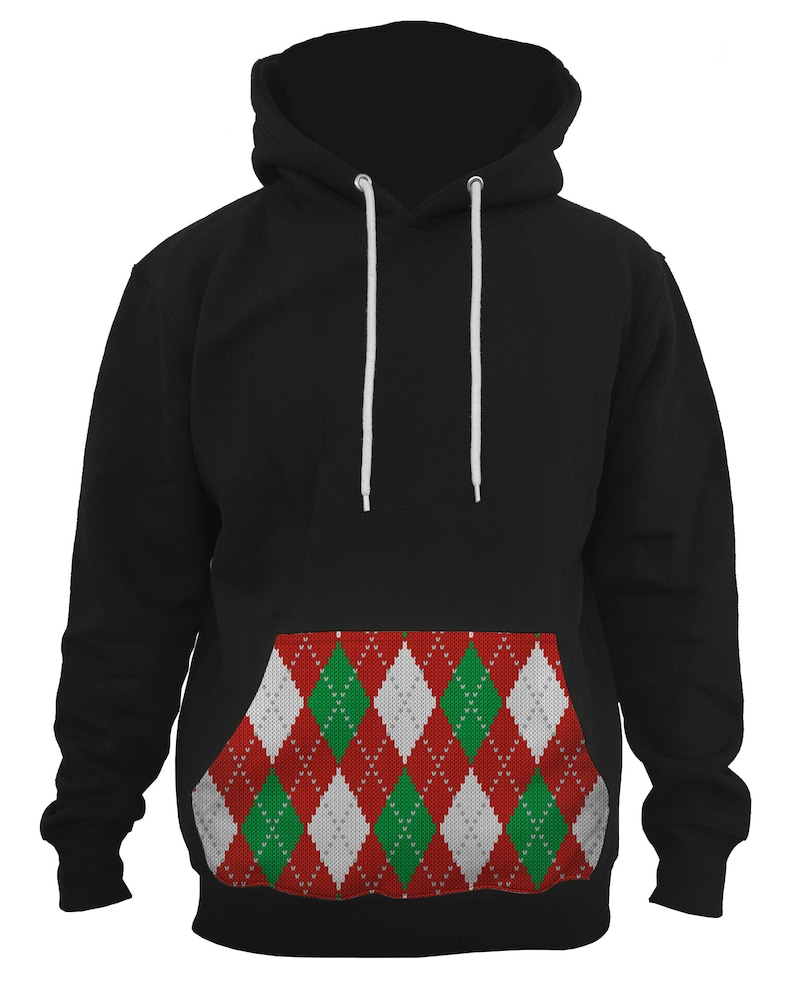 Men/'s Red Xmas Knitted Argyle Black Pullover Hoodie All size S-5XL PLY P110