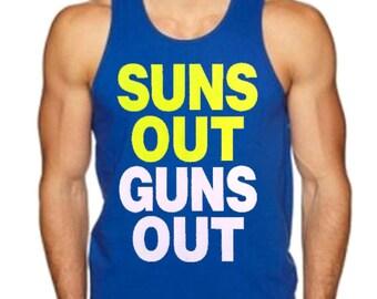 Men's Suns Out Guns Out Tank Top Royal Blue All size S-3XL