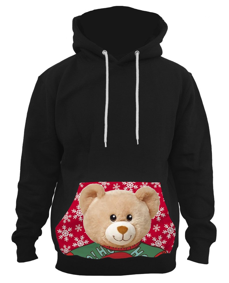 Men/'s Xmas Teddy Bear Black Pullover Hoodie All size S-5XL PLY P84