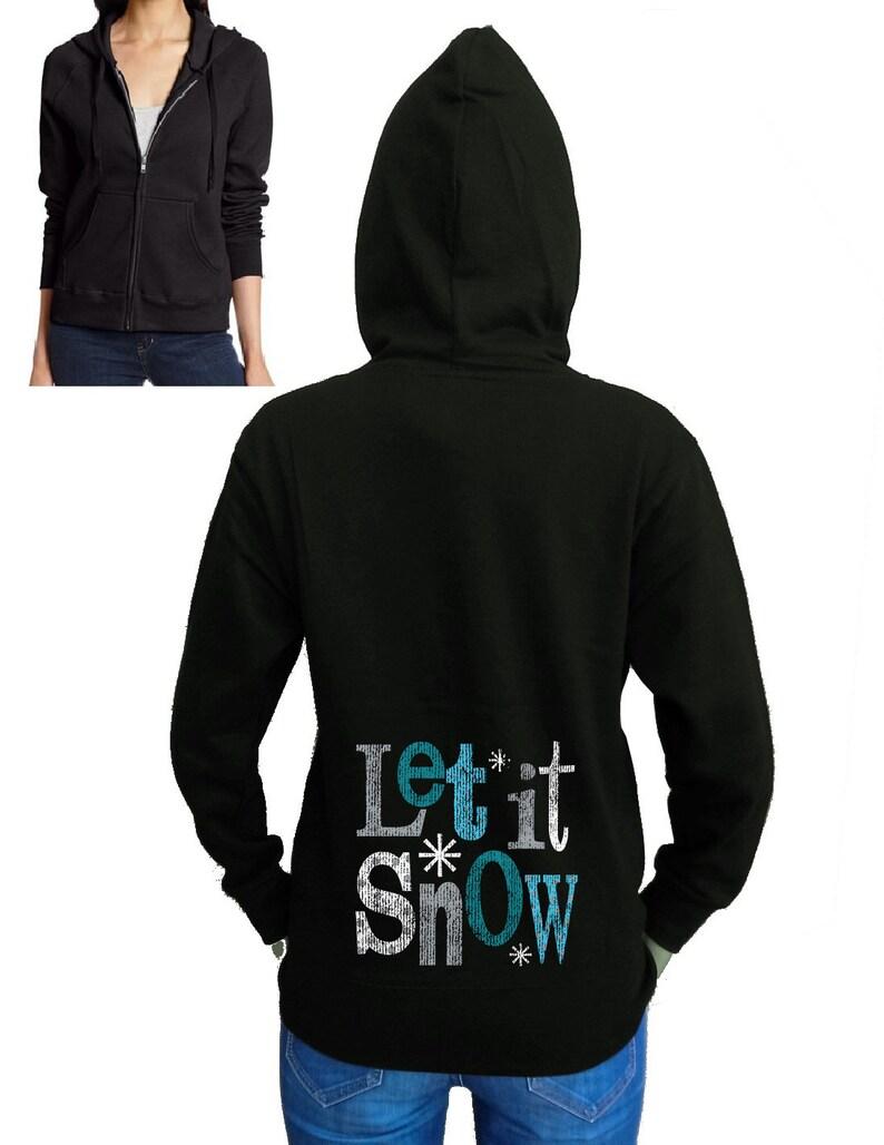 Junior/'s Let It Snow Zipper Hoodie All Size S-2XL Fleece