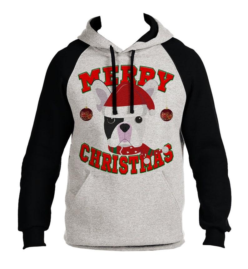 Merry Christmas French Bulldog Men/'s Raglan Hoodie Grayblack  All size S-3XL B1478