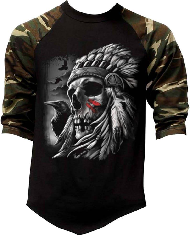 New Men/'s Indian Axe Chief Skull Camo Raglan Sweatshirt Tribal Native American