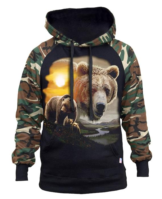 Men/'s Camo Vest Muscle Hoodie sweatshirt Wildlife hunting animal workout beast