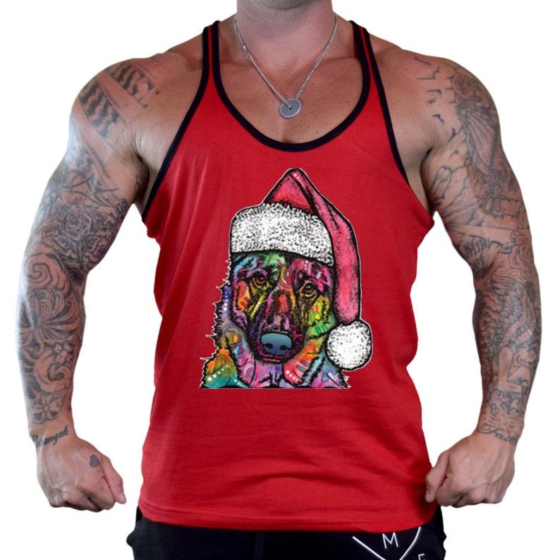 933dd629b402d7 Christmas Neon Dog Men s Workout Stringer Tank Top Y Back