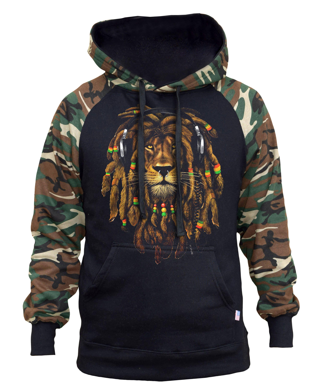Mens Rasta Lion Beanie Sleeveless Zipper Hoodie