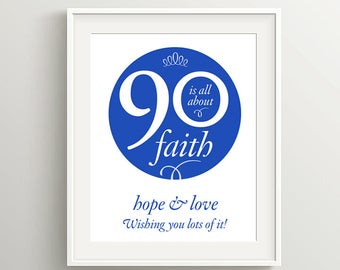 Happy 90th Birthday! Instant download files for card or poster, I Corinthians 13 sentiment, Royal Blue, Color requests welcome