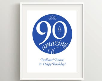 Happy 90th Birthday! Instant download files for card or poster, I Corinthians 13 sentiment, in Blue and Royal Blue