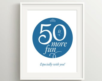 Happy 50th Birthday Card, Instant Download Typographic Art, 5x7 and 8x10 files to print as card or poster, 50 is more fun!