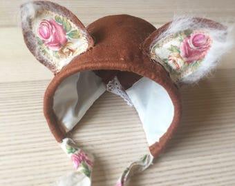 Finlay Fox bonnet, baby bonnet, sitter fox bonnet, photoprop bonnet, uk seller