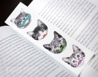 Moustachioed Cat Bookmark - Funny Bookmark, Cat Bookmark, Animal Bookmark