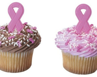 Breast Cancer Awareness Cupcake Topper - 6/Pack