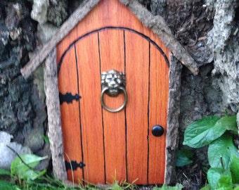 Gnome door fairy door or tree door with lion knocker & Gnome door | Etsy