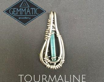 Blue Tourmaline sterling silver pendant