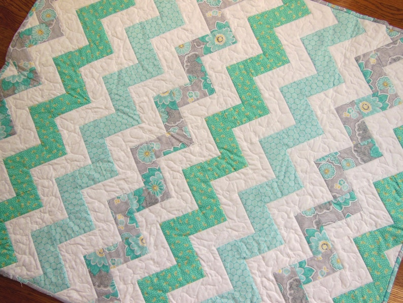 Gray and White Quilt Chevron Baby Quilt Modern Nursery Turquoise Zig Zag Quilt