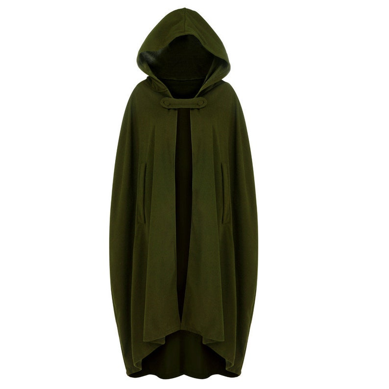 Cloak Adult Hooded Cape Medieval Renaissance Costume Fancy Dress Green Grey Red