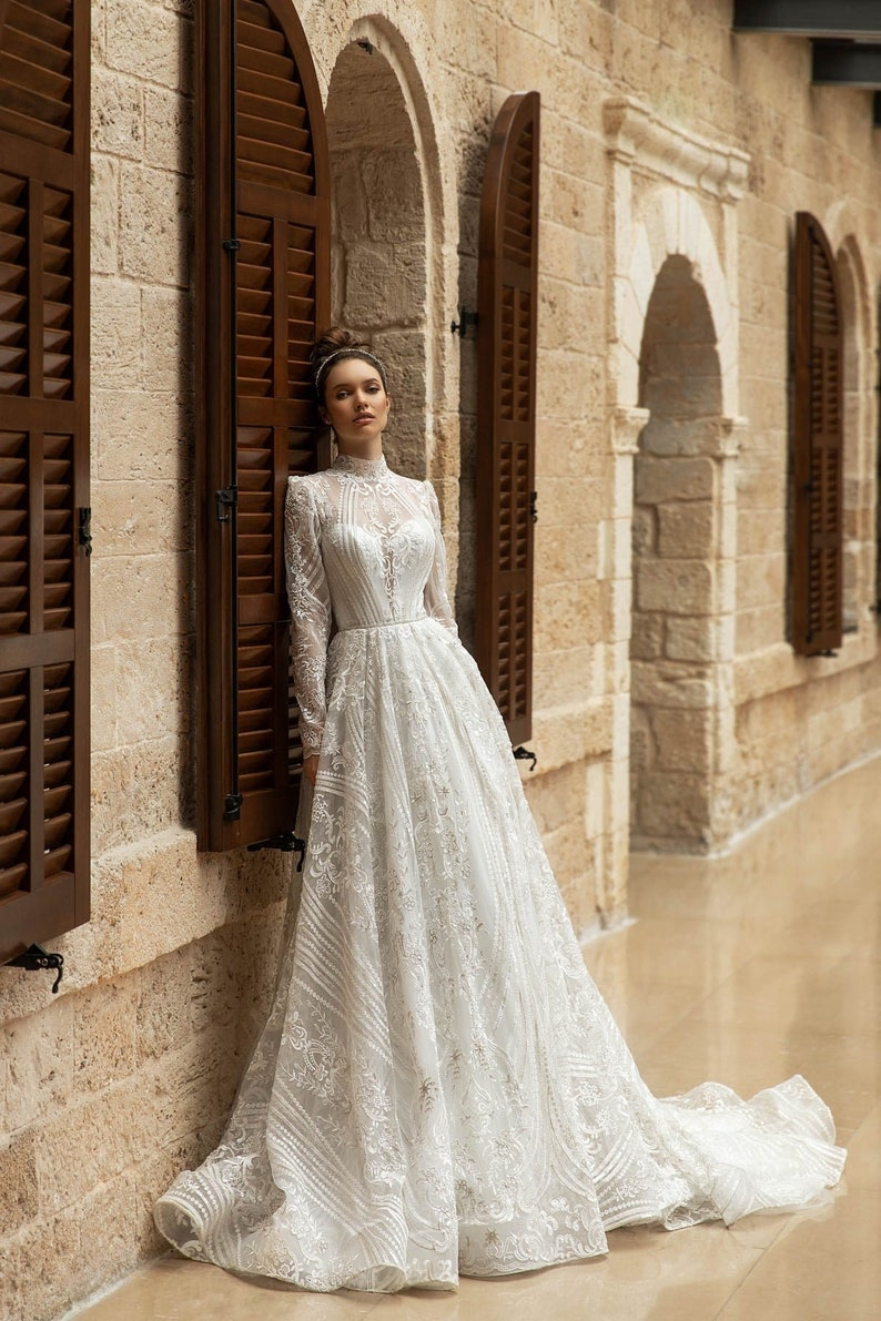Luxury Vintage Style High Collar Neckline Plunge Lining Full Just Dress