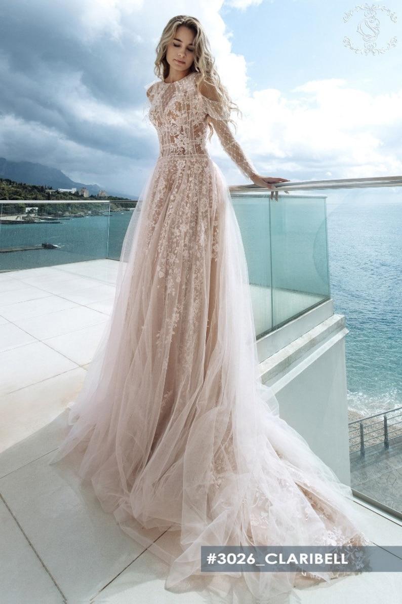 Unique Romantic Lace ALine Long Sleeve Vintage Style Wedding image 1