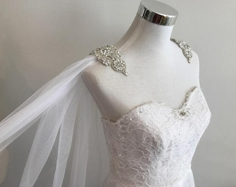 Cape Veil Rhinestone Appliques on Shoulders Long, Bridal Shoulder Veil In White, Ivory