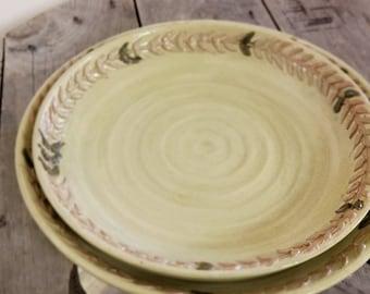 Set of two platters, Set of Platters, Platter Set, Green Platter Set, Green with Metallic Platters, Olive Leaf Platters,