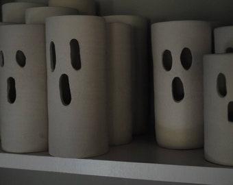Boo Halloween Ceramic Lantern, Handmade Ceramic Halloween Boo Luminary, White Lantern, Handmade Pottery Luminary