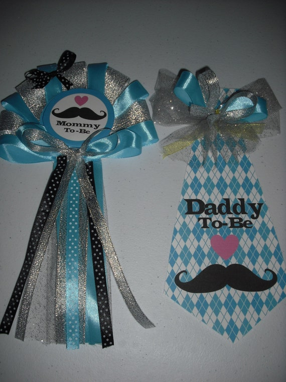 Baby Shower Mustache Mommy And Daddys Corsage And Tie Etsy