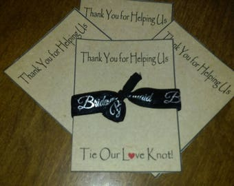 Brides Maids Set of 3 thank you cards and hair ties