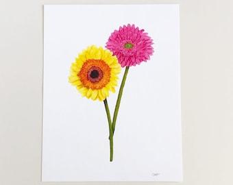 Gerbera Daisies Art Print | Botanical Art Print | Funny Art Print | Gerbera Daisy Print | Gerbera Daisies Wall Art | Wall Art | Gerber Daisy