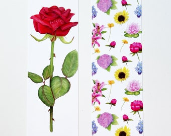 Bookmark Set of 2 | Flower Bookmarks | Funny Gift | Profanity | Watercolor Flowers | Bookmarks Set