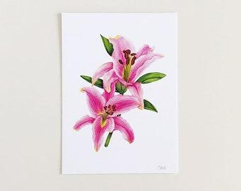 Stargazer Lily Art Print | Botanical Art Print | Funny Art Print | Stargazer Lily Wall Art | Wall Art | Pink Flower Wall Art | Profanity