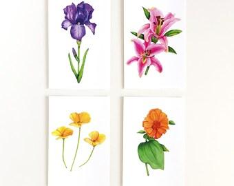 Set Of 4 Postcards | Funny Floral Postcard Set | Flower Postcard Set | Art | Botanical Prints | Funny Postcards | Funny Gift | Flower Art