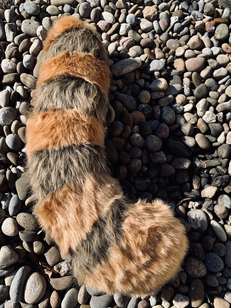 Fursuit Panda heavy metal red panda tail-- fursuit tail, retsuko, cosplay tail, furry,  aggretsuko, rust and brown tail, racoon tail, aggre cosplay
