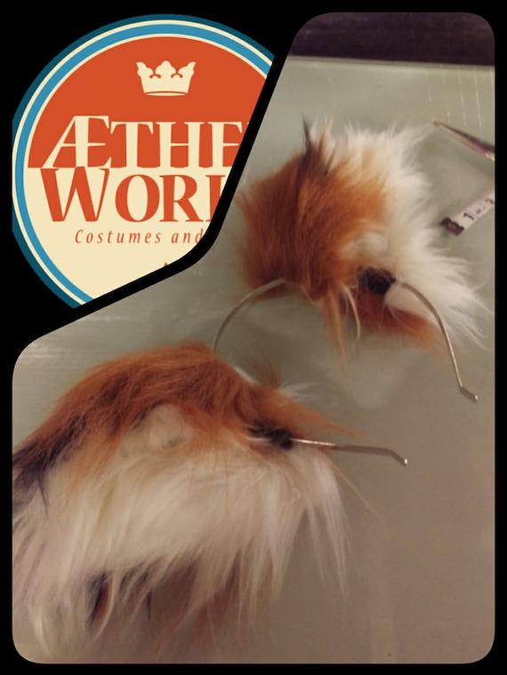 Posable Round Fox Ears --Fox Ears, Furry, Red panda ears, Wearable ears,  Head band ears, Fox Cosplay, Fox Costume, clip on ears