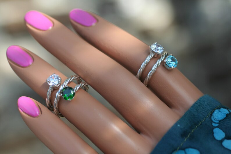Custom made Lover/'s Friendship or Sister/'s Ring Feminine Coiled Band Your Choice of Birthstones TWISTED SOLID SILVER Mother/'s