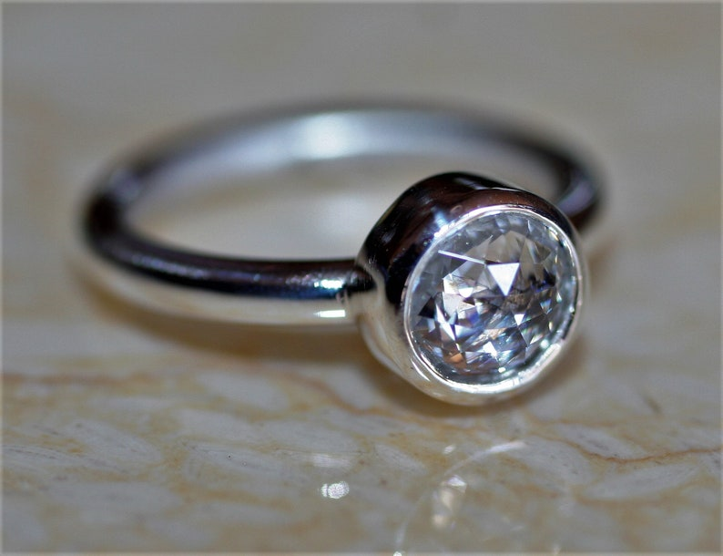 Precisely Faceted Cubic Zirconia Comfort Fit Argentium Silver Band DOUBLE ROSE CUT Solitaire Many Ring Sizes Thick Smooth Bezel Set