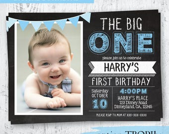 Boys Chalkboard First Birthday Invitation Photo The Big One