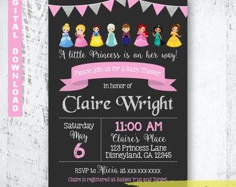 Disney baby shower invitations etsy disney princess baby shower invitation princess baby shower invite silver and pink baby shower invitation baby shower princess invitation filmwisefo