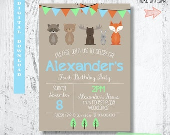 Woodland Forest Friends Invitation.Woodland Birthday Invitation.Forest Animals Invitation Party Invites.Fox Party Printable.Custom.Printable