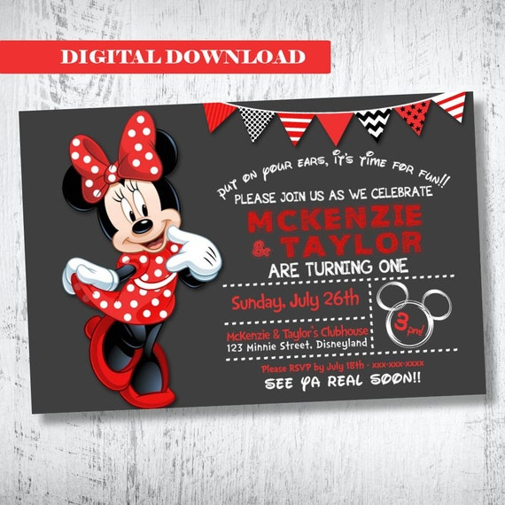 Minnie Mouse Invitation Red Birthday