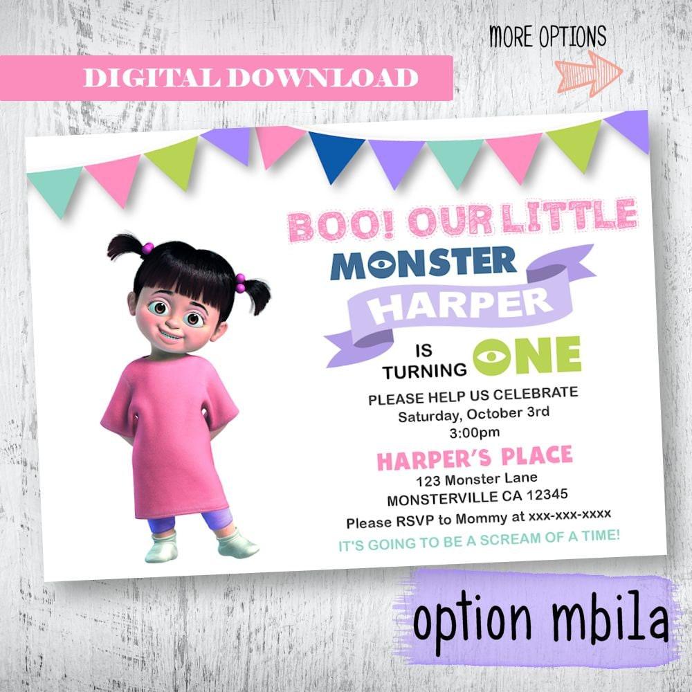 Monsters Inc Invitation Monsters Inc Boo Birthday Etsy