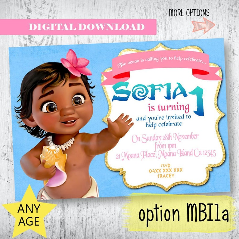 Baby Party Invitation Moana Birthday