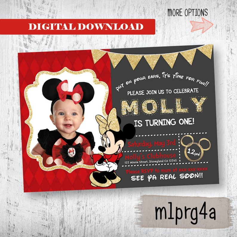 Minnie Mouse InvitationMinnie Birthday InvitationRed