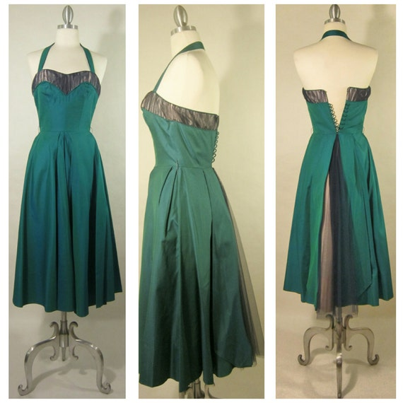 1950's Evening Gown! Iridescent Green Fabric W/ Tu