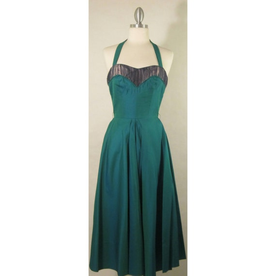 1950's Evening Gown! Iridescent Green Fabric W/ T… - image 3
