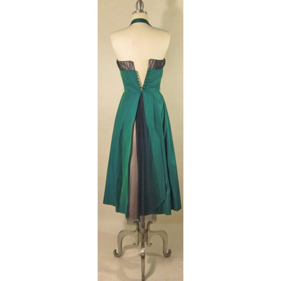 1950's Evening Gown! Iridescent Green Fabric W/ T… - image 4