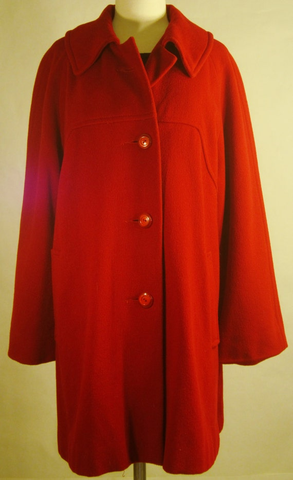 1950s Vintage Red Lipstick Wool Overcoat. Perfect