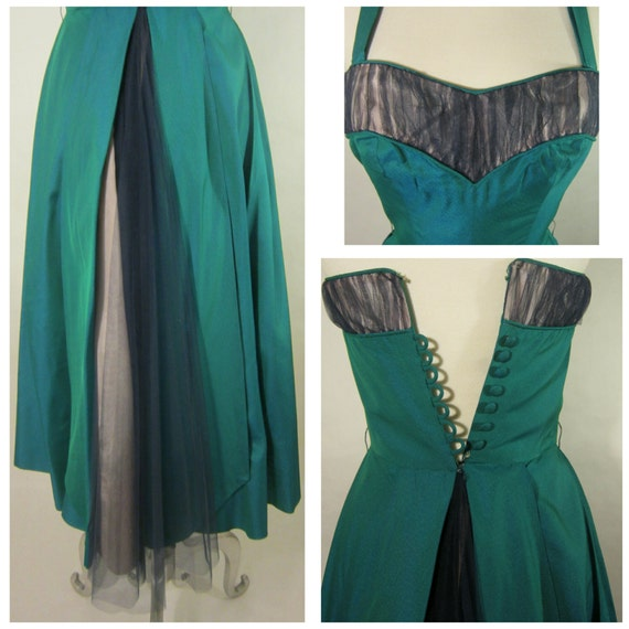 1950's Evening Gown! Iridescent Green Fabric W/ T… - image 2