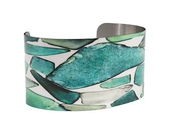 Photo Cuff Bracelet Sea Glass Beach Glass Teal