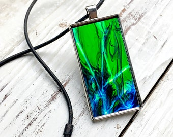 Abstract Pendant Blue Solar System with cord